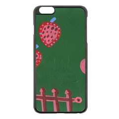 Floating Strawberries Apple Iphone 6 Plus/6s Plus Black Enamel Case