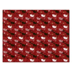 Snow Sleigh Deer Red Rectangular Jigsaw Puzzl