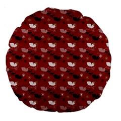 Snow Sleigh Deer Red Large 18  Premium Round Cushions