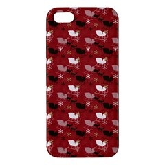 Snow Sleigh Deer Red Apple Iphone 5 Premium Hardshell Case