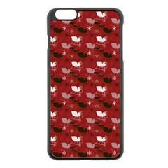 Snow Sleigh Deer Red Apple Iphone 6 Plus/6s Plus Black Enamel Case