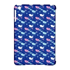 Snow Sleigh Deer Blue Apple Ipad Mini Hardshell Case (compatible With Smart Cover)
