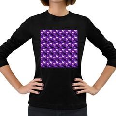 Snow Sleigh Deer Purple Women s Long Sleeve Dark T Shirt