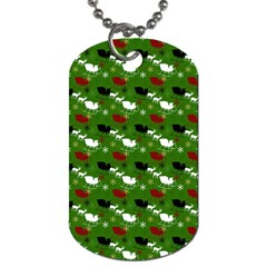 Snow Sleigh Deer Green Dog Tag (one Side)
