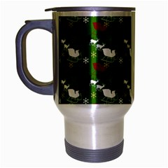 Snow Sleigh Deer Green Travel Mug (silver Gray)