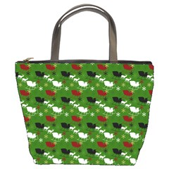 Snow Sleigh Deer Green Bucket Bags