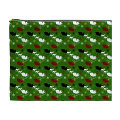 Snow Sleigh Deer Green Cosmetic Bag (xl)
