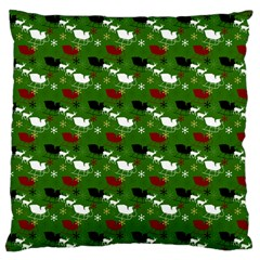 Snow Sleigh Deer Green Large Cushion Case (two Sides)