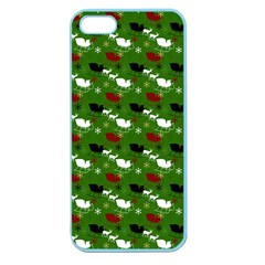 Snow Sleigh Deer Green Apple Seamless Iphone 5 Case (color)