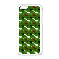 Snow Sleigh Deer Green Apple Iphone 6/6s White Enamel Case