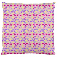 Hearts Butterflies Pink 1200 Large Cushion Case (two Sides)
