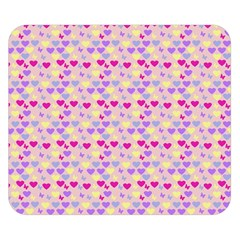 Hearts Butterflies Pink 1200 Double Sided Flano Blanket (small)