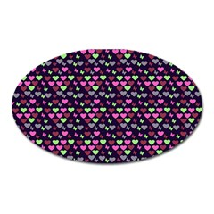 Hearts Butterflies Blue Pink Oval Magnet