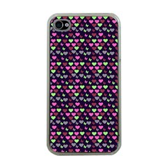 Hearts Butterflies Blue Pink Apple Iphone 4 Case (clear)