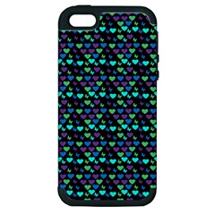 Hearts Butterflies Black Apple Iphone 5 Hardshell Case (pc+silicone)