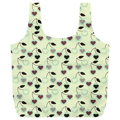 Heart Cherries Mint Full Print Recycle Bags (l)  by snowwhitegirl