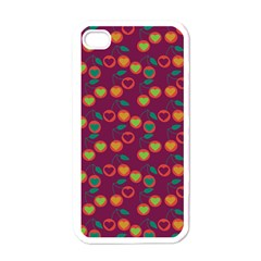 Heart Cherries Magenta Apple Iphone 4 Case (white)