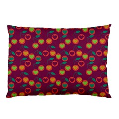Heart Cherries Magenta Pillow Case (two Sides)