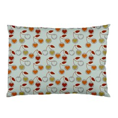 Heart Cherries Grey Pillow Case (two Sides)