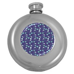 Heart Cherries Blue Round Hip Flask (5 Oz)