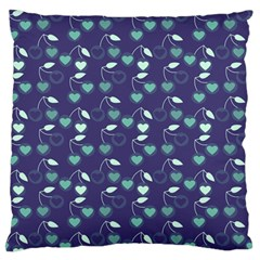 Heart Cherries Blue Large Flano Cushion Case (two Sides)