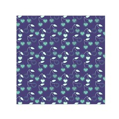 Heart Cherries Blue Small Satin Scarf (square)