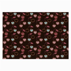 Heart Cherries Brown Large Glasses Cloth (2 Side)