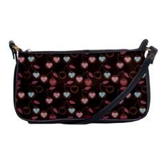 Heart Cherries Brown Shoulder Clutch Bags by snowwhitegirl