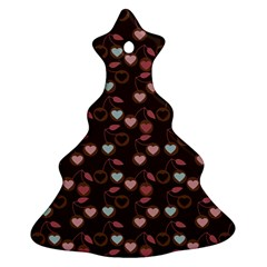 Heart Cherries Brown Ornament (christmas Tree)