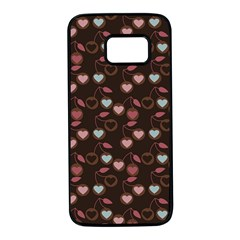Heart Cherries Brown Samsung Galaxy S7 Black Seamless Case