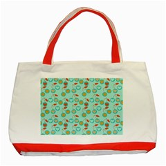 Light Teal Heart Cherries Classic Tote Bag (red)