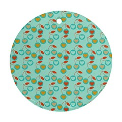 Light Teal Heart Cherries Round Ornament (two Sides)