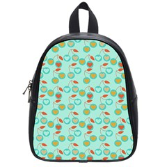 Light Teal Heart Cherries School Bag (small)