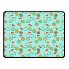 Light Teal Heart Cherries Fleece Blanket (small)