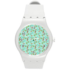 Light Teal Heart Cherries Round Plastic Sport Watch (m)