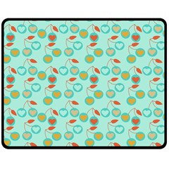 Light Teal Heart Cherries Double Sided Fleece Blanket (medium)