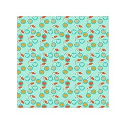 Light Teal Heart Cherries Small Satin Scarf (square)