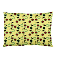 Yellow Heart Cherries Pillow Case (two Sides)