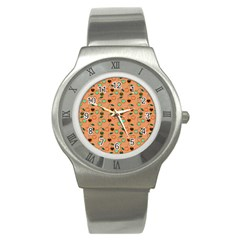 Peach Cherries Stainless Steel Watch