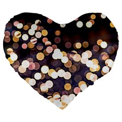 Bright Light Pattern Large 19  Premium Flano Heart Shape Cushions