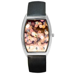 Warm Color Brown Light Pattern Barrel Style Metal Watch by FunnyCow