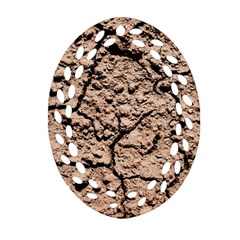 Earth  Light Brown Wet Soil Oval Filigree Ornament (two Sides)