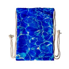 Blue Clear Water Texture Drawstring Bag (small)