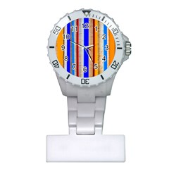 Colorful Wood And Metal Pattern Plastic Nurses Watch by FunnyCow