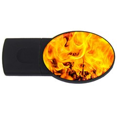 Fire And Flames Usb Flash Drive Oval (4 Gb)