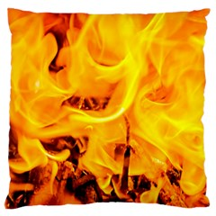Fire And Flames Large Flano Cushion Case (two Sides) by FunnyCow