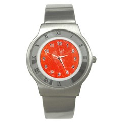 Grunge Red Tarpaulin Texture Stainless Steel Watch