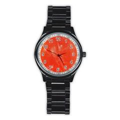 Grunge Red Tarpaulin Texture Stainless Steel Round Watch