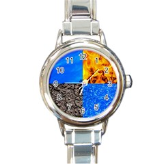 The Fifth Inside Funny Pattern Round Italian Charm Watch