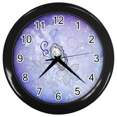 Wonderful Butterlies With Flowers Wall Clock (black)